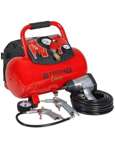 Kompressori 12l/200l/1,1kW 230V Strongline + työkalusetti